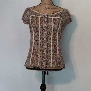 Semi sheer sz m baby doll sleeve blouse.